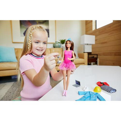 Barbie Surprise Doll Brunette with 2 Career Looks and Accessories